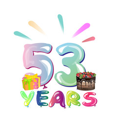 53 years anniversary celebration greeting card vector