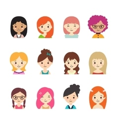 Collection of different avatars with women vector
