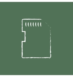 Memory card icon drawn in chalk vector