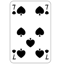 Poker playing card 7 spade vector