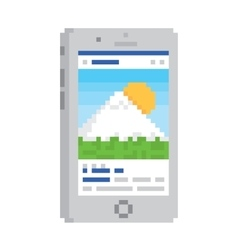 Pixel art style smartphone gadget isolated vector