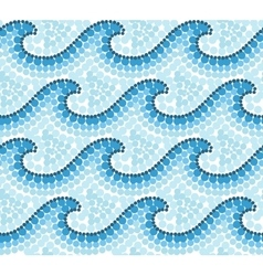 Blue dotted mosaic australian style waves seamless vector