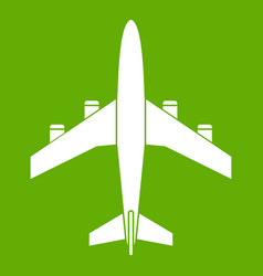 airplane icon green vector image vector image