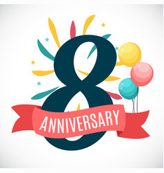 Anniversary 8 years template with ribbon vector