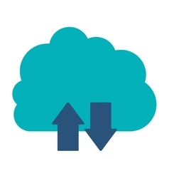 Blue cloud with arrows in opposite direction vector