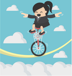 business woman riding bike one wheel on a rope vector image
