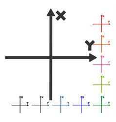 Cartesian axes framed icon vector