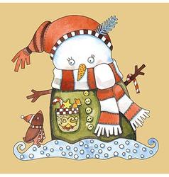 Christmas design Watercolor snowman vector image vector image