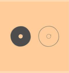 Circular saw blade dark grey set icon vector