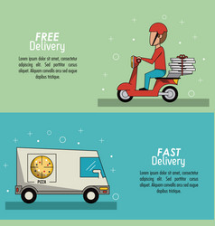 color poster banner scene fast delivery in pizza vector image