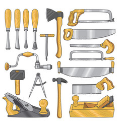 colored of carpentry tools wooden vector image