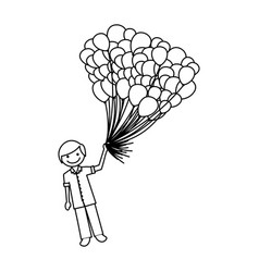 Contour happy boy with balloons in the hand vector