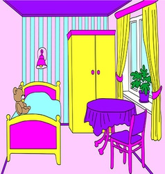 Cosy room for a girl with furniture and toys vector