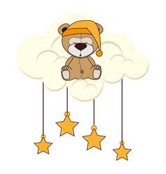 Cutte teddy sleeping icon vector
