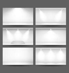 Empty white photo studio interior background set vector