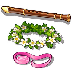 flute flower wreath and pink tape vector image vector image