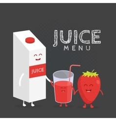 Funny cute strawberry juice packaging and glass vector image vector image