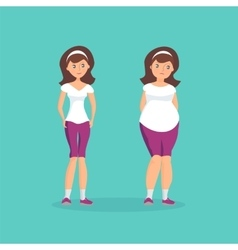 Girl with fat forms abdomen and athletic girl vector