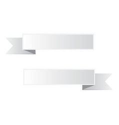 gray ribbon banner on white background white vector image