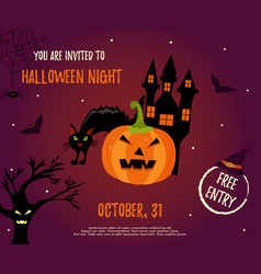 halloween background withhouse pumpkin and bats vector image