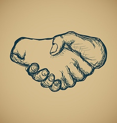 Hand draw sketch of vintage style hand shake vector image vector image