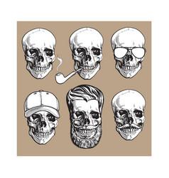 human skull bones with sunglasses beard vector image vector image