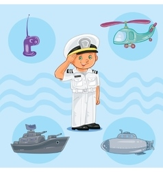 Little boy seaman with a warship submarine and vector image