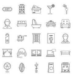 Lodging icons set outline style vector