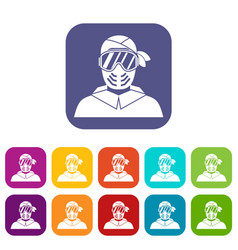 Paintball player wearing protective mask icons set vector