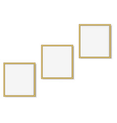 set of gold square photo frames vector image