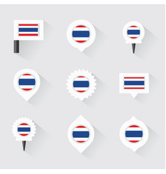 thailand flag and pins for infographic and map vector image vector image