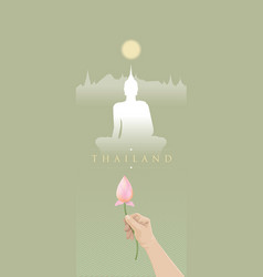 traveling to thailand with buddhist culture vector image