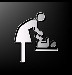 Women and baby symbol baby changing gray vector
