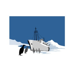 Passenger ship cargo boat anchor retro vector