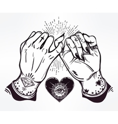 Pinky promise hand holding trendy art vector