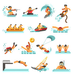 Water sport summer activities flat icons vector