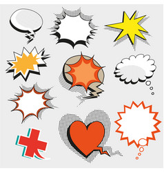 Pop art comic speech bubbles shapes and vector
