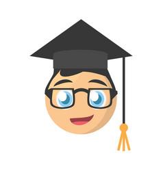 male graduate emoticon cartoon design vector image