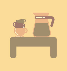 Flat icon on background coffee cup of coffee table vector