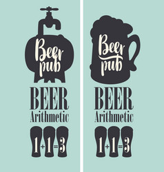 banner for pub with beer on tap in a retro style vector image
