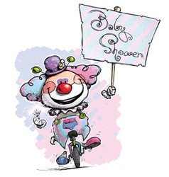 Clown on unicle hoding a baby shower plackard vector