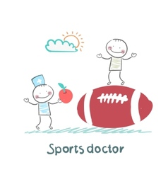 Sports doctor giving an apple to the person who vector