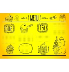Tea and sweets - doodles collection vector