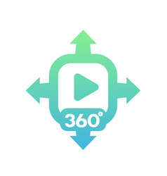 360 degrees video icon on white vector
