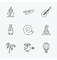Cruise airplane and helicopter icons vector