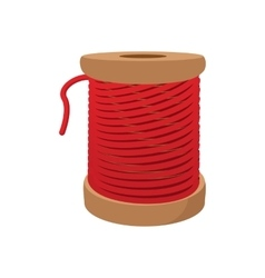 Spool of red thread for sewing cartoon icon vector