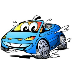 Cartoon of a blue sports car mascot racing i vector