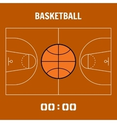 Basketball court the plan field sports ball flat vector