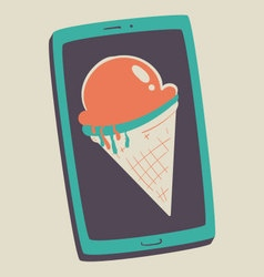 Ice cream cone inside cell phone screen vector