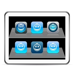 Smiley blue app icons vector